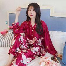 Plus Size Women Long Sleeve Silk Satin Pyjama Button Down Nightgown Pijamas Set