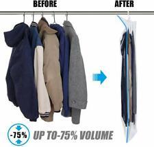 5 PACK Large Hanging Vacuum Space Saver Closet Storage Bags Clothes Dress Suits