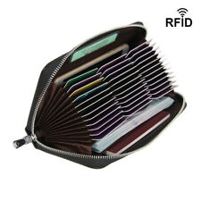 1PC 36 Slots Large Real Leather Credit Card Holder Zip-Around Cash Purses Black