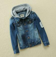 Boys Kids Denim Jeans Jacket Hooded Casual Trench Coat Hoodies Outerwear Size