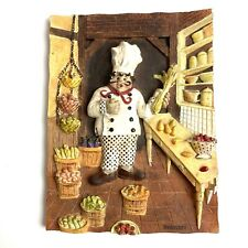 Riggsbee Fat Chef 3D Resin Wall Plaque 6.25in x 4.75in Kitchen Decor