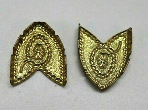 Gold plated brass belt tips lot of 2 E189