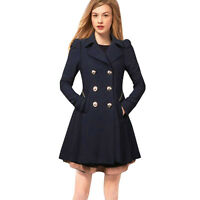 Women Winter Warm Trench Jacket Coats S-XXL Long Parka Coat Lapel Neck Outwear