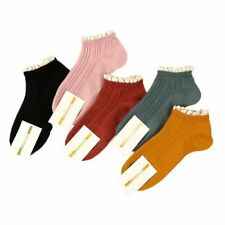 Women Lovely Cotton Socks Breathable Comfortable 5 Pair Harajuku Solid Lace Boat