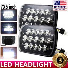 "2PCS 7X6"" 45W LED Hi-Lo Sealed Beam Black Housing Headlights H6052 H6054 H6014"