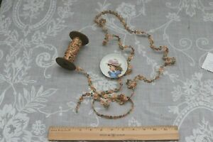 "Antique Vintage French Silk Peach & Green Ribbonwork c1920~L-5yds25"""