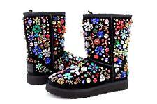 Ugg X JEREMY SCOTT Classic Short Jewel Suede Black Luxury Boot Size 7 US
