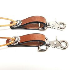 """2 Pack Heavy Duty Br Leather Water Tie Ends 3.5"""" W/ Concho And 3/4"""" Scissor Snap"""