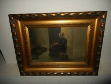 Antique oil painting,{ Woman preparing dinner, signed Bruco, nice frame! }.