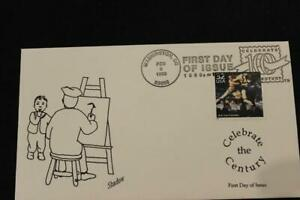 1ST DAY ISSUE 1998 CELEBRATE THE CENTURY ASH CAN PAINTERS FDC BY SHADOW (7227)