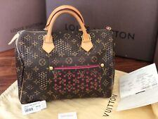 Louis Vuitton Perforated Speedy 30 Fuchsia Leather City Handbag- Limited Edition