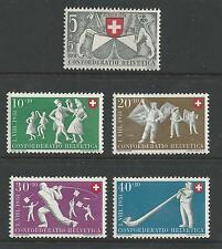 SWITZERLAND # B201-205 MNH FLAG-SWINGING, DANCING-POLKA