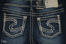NEW Women's SILVER Jeans AIKO MID/SLIM HIP & THIGH/FLARE Sz W/24 L/34 MSRP $89