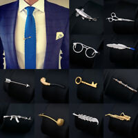 Men Unique Bar Metal Tie Clip Clasp Necktie Pin Wedding Silver Clamp Office Acce