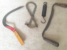 Tools 4 Antique Primitive circa 1890's Draw Knife Ice Tongs Sickle Spring Scale