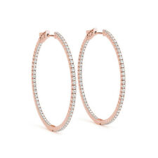 2.22 Ct Genuine Natural Round Diamond Earring Real 14K Rose Gold Hoop SI1/I-J