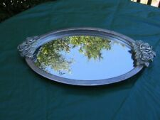 Godinger Vintage 90s Silver Plated Mirrored Vanity Tray w/roses
