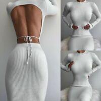 Women's Sexy Slim Backless Midi Dress Lady Long Sleeve Party Round Neck Dresses