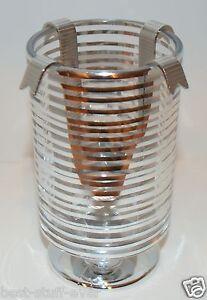BATH BODY WORKS SILVER GLASS RIBBON STRIPED DROP IN MINI CANDLE HOLDER 1.3 OZ