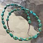 VTG NATIVE AMERICAN GREEN TURQUOISE NUGGET GOLDEN MATRIX HEISHI SHELL NECKLACE