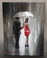 ORIGINAL FINE ART OIL PAINTING PETE RUMNEY 'HEADING FOR THE PARTY' LADY IN RED