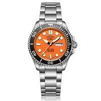 Rotary Super 7 Scuba Diving Auto Orange Dial Silver Steel Bracelet Mens S7S002B