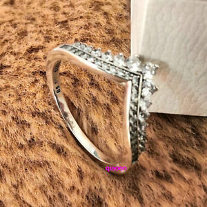 Authentic 925 Sterling Silver Princess Wish Wishbone Ring Clear CZ Size 6 7 8 9