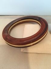 Rare  Flat Vintage Lucite Bangle Bracelet Tortoise Shell Ivory Color 1960's