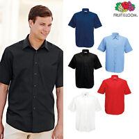 Fruit of the Loom Men's Poplin Short Sleeve Shirt Formal Smart Workwear S-3XL
