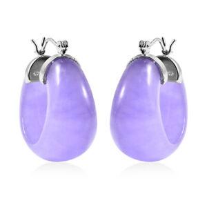 Lavender Jade Hoop Hoops Earrings 925 Sterling Silver Rhodium Over Gift Ct 34.5