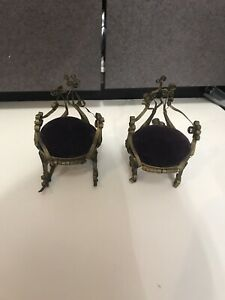 Vintage Victorian Doll House spiral Metal Chairs w Purple Velvet Cushions