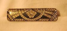 Handsome Slender Goldtne & Black Art Deco-Inspired Epoxy Par Silvertn Brooch Pin