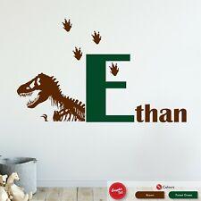 Personalised Dinosaur Name & Initial Wall Art Sticker Boys Bedroom Vinyl Decal