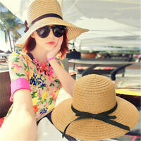 Chic Foldable Women's Floppy Straw Hat Wide Large Brim Sun Cap Summer Beach Bow