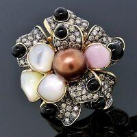Carlo Viani LeVian 14K Gold Pearl Chocolate Diamond Delizia Flower Ring Size 7