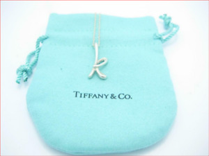 """Tiffany & Co Peretti Alphabet Letter Initial 'K' Sterling Silver Necklace 16"""""""