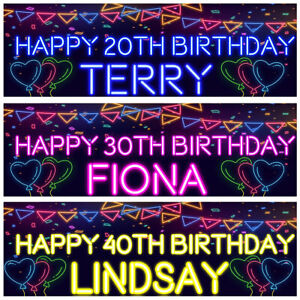 2 personalised birthday banner Neon balloon hearts kids adults party decoration