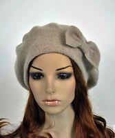 Cute Bow Winter 100% Wool Fashion Lady Women's Hat Beanie Ski Beret Khaki Beige