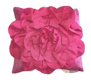 square toss pillow pink rosette girls Just For Kids fuchsia decorative accent