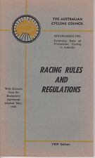 Vintage 1959 'Racing Rules & Regulations' by The Australian Cycling Council 64pg