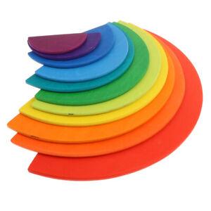 Wooden Rainbow Stacker Nesting Puzzle Blocks - Semi-circle Pieces 11pcs -