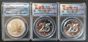 Canada 2013, 2014 Maple Leaf ANACS Reverse Proof 70 & MS70