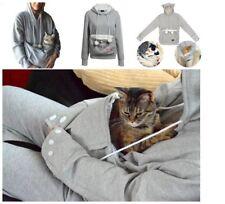 Women Hoodie Large Pocket Pet Dog Cat Kangaroo Holder Carrier Coat Pouch Tops DR