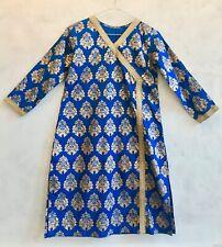 Electric Blue Gold Ornate Indian Smock Kaftan Tunic Ethnic Hippy Dress Small 8