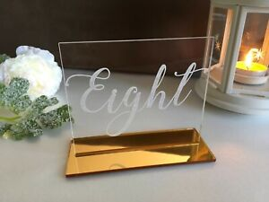 Clear Acrylic Wedding Table Numbers Freestanding Calligraphy Engraved Numbers