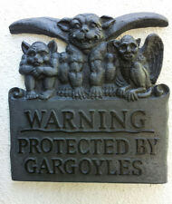 "Gargoyle wall plaque ""warning protected by Gargoyles"""