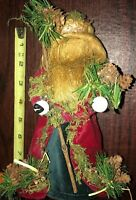 "Folk Art 7-8"" Santa Claus Fabric Figure Christmas Holiday Home Decor Rustic Nice"