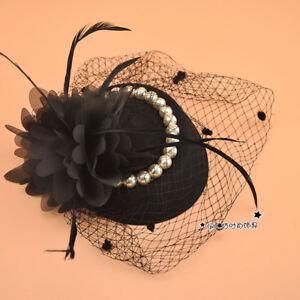 Elegant Black Pearls Tulle Women/Lady Wedding Party Veil Prom Evening Formal Hat