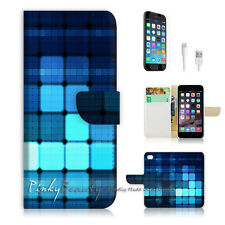 "iPhone 6 (4.7"") Print Flip Wallet Case Cover! Digital Blue Square P0372"