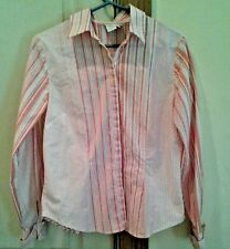 Coldwater Creek Coral/Yellow/White Striped Cotton Top Blouse. Size M.